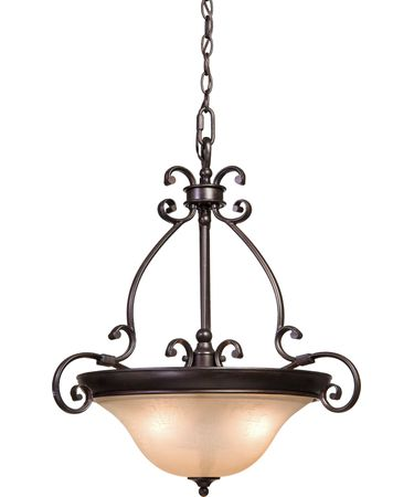 Shown in Dark Bronze finish and Amber Linen glass