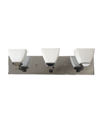 Shown in Chrome finish, White glass and Crystal accent