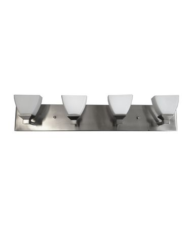 Shown in Brushed Nickel finish, White glass and Crystal accent