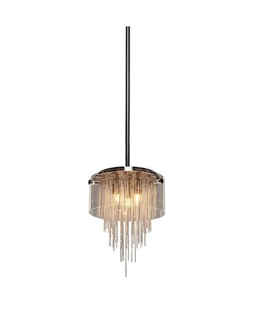 Shown in Distressed Black finish, Light Caramel glass, Crinkled Linen shade and Crystal accent