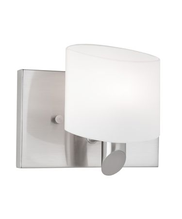 Shown in Brushed Nickel finish and Frosted White glass
