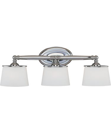 Shown in Chrome finish, White Oval glass and Soft White Silk Ribboned shade