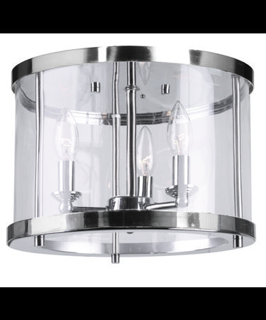 Shown in Polished Nickel finish, Clear Cylindrical Glassware glass and Crystal Bobeches accent