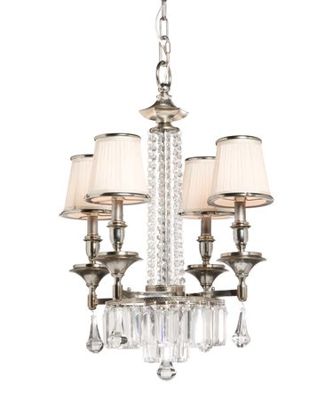 Shown in Distressed Pewter finish, Cut Crystal crystal and Crystal Bobeches accent