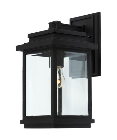 Shown in Black finish and Clear glass