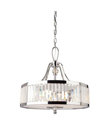Shown in Chrome finish, Prism Shaped crystal and Frosted Diffuser glass