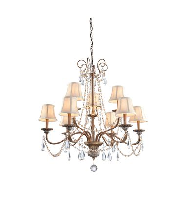 Shown in Bronze finish, Clear and Amber crystal, Toile Patterned Fabric shade and Crystal Drops accent