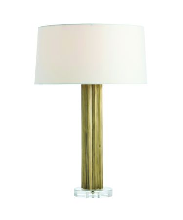 Shown in Antique Brass finish and Ivory Microfiber shade