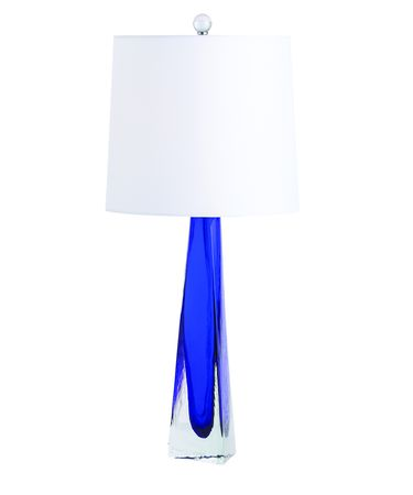 Shown in Cobalt finish, Blue glass and White shade