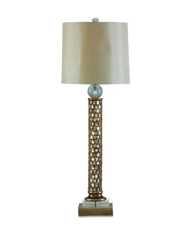 Shown in Forsted Gold Bead finish and Fabric shade
