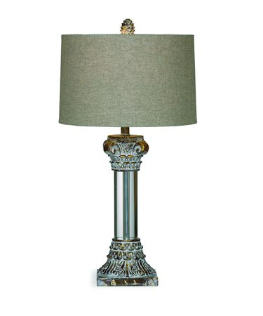 Shown in Antique Gold Lucite finish and Fabric shade