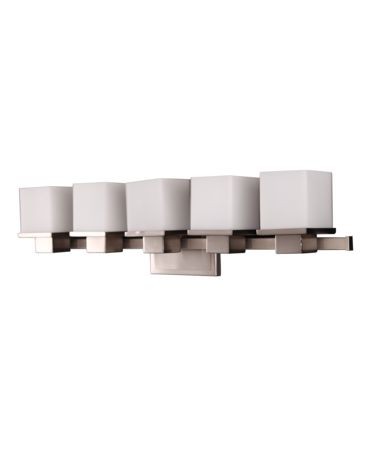 Shown in Satin Nickel finish and White Opal glass