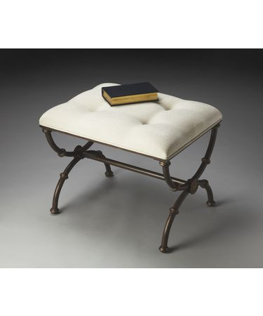 Shown in White Upholstered-Black Metal Base finish
