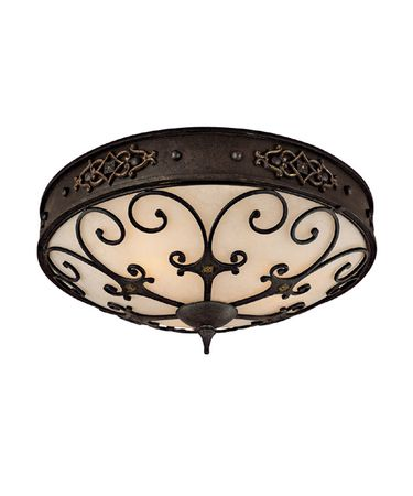 Shown in Rustic Iron finish, Rust Scavo glass and Decorative iron grille accent