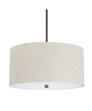 Shown in Burnished Bronze finish and Light Tan Fabric shade