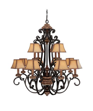 Shown in Iron and Umber finish and Faux-Finished Hard Back Paper shade