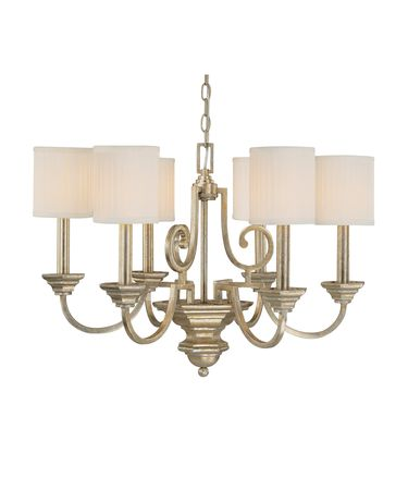 Shown in Winter Gold finish and Box-Pleated shade