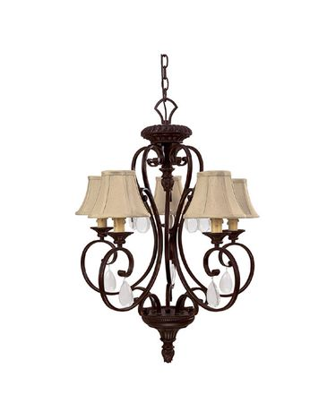 Shown in Mediterranean Bronze finish, Crystal Set Sold Separately crystal and Fabric shade