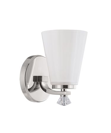 Shown in Polished Nickel finish and Milk glass