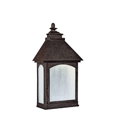 Shown in Rustic Iron finish and Frosted Seeded glass
