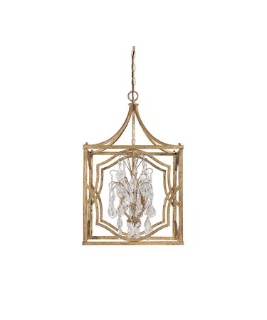 Shown in Antique Gold finish and Clear crystal
