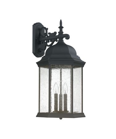 Shown in Black finish and Antique glass