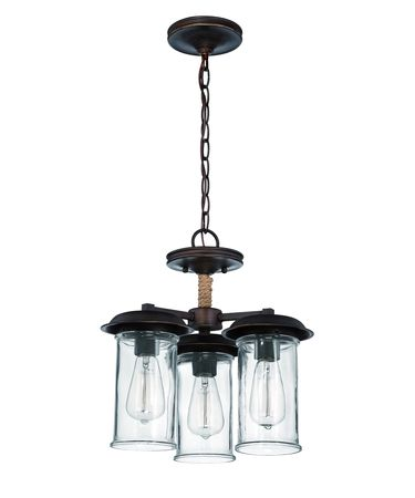 Shown in Aged Bronze finish, Antique Clear glass and Natural Rope Accent accent