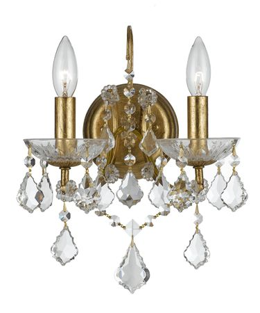 Shown in Antique Gold finish and Clear Hand Cut crystal