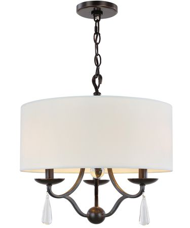Shown in English Bronze finish, Clear Hand Cut crystal and White Linen shade