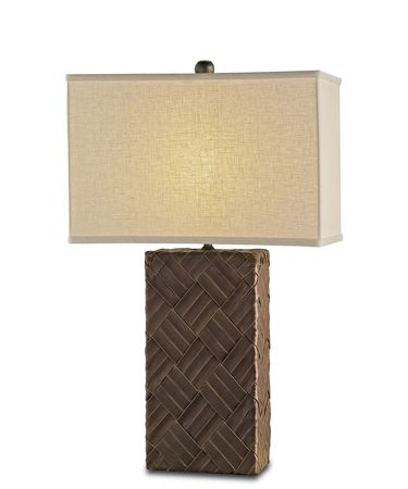 Shown in Cupertino-Brown finish and Light Beige Linen shade