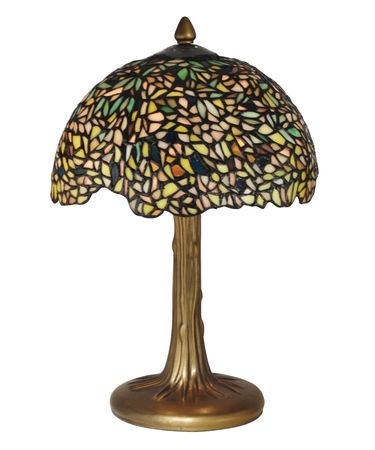 Shown in Antique Bronze-Verde finish and Hand Rolled Art Glass shade