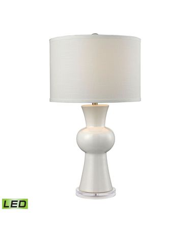 Shown in Gloss White finish and White Linen shade