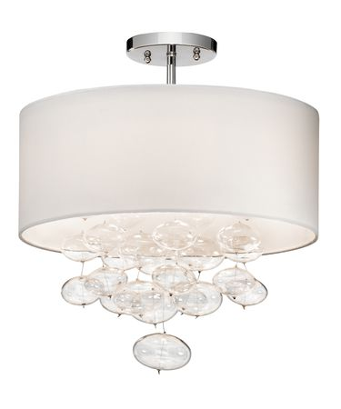 Shown in Chrome finish, Clear Oval Blown glass and White shade