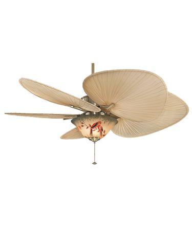 Motor Shown In Antique Brass finish with ISP1 Natural palm Leaf blades and F423AB Light Fitter and G439 Hand Painted Parrot Bowl