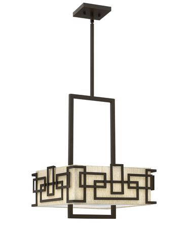 Shown in Oil Rubbed Bronze finish, Acrylic Lens glass and Oatmeal Fabric shade
