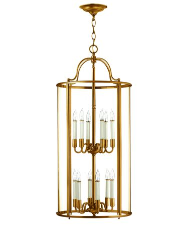 Shown in Heirloom Brass finish and Clear Bent glass