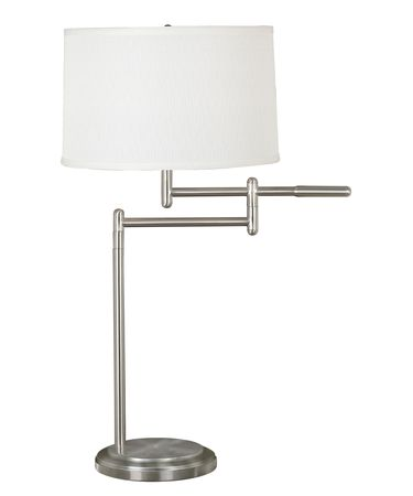Shown in Brushed Steel finish and White Tapered Drum shade