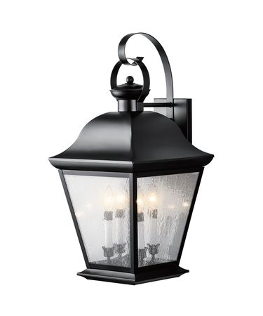 Shown in Black Painted finish and Seedy glass