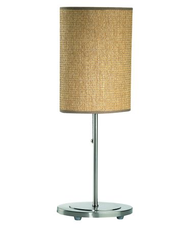 Shown in Polished Steel finish and Rattan shade