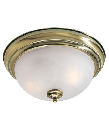 Shown In Antique Brass finish with White Alabaster glass