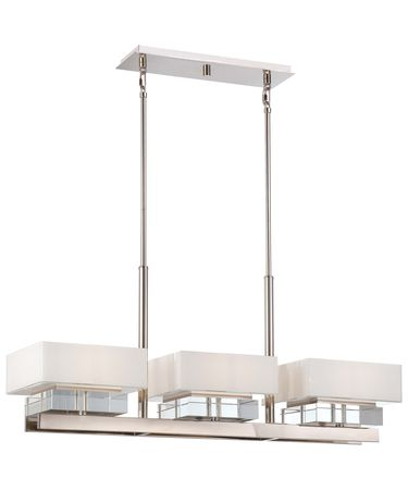 Shown in Polished Nickel finish, Mitered White Inside glass and Eidolon Krystal Accents accent