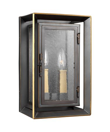 Shown in Antique Bronze - Painted Burnished Brass finish and Clear Seeded glass