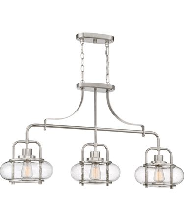 Shown in Brushed Nickel finish and Clear Seedy glass