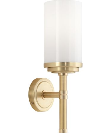 Shown in Brushed Brass-Natural Brass finish and Cased White glass