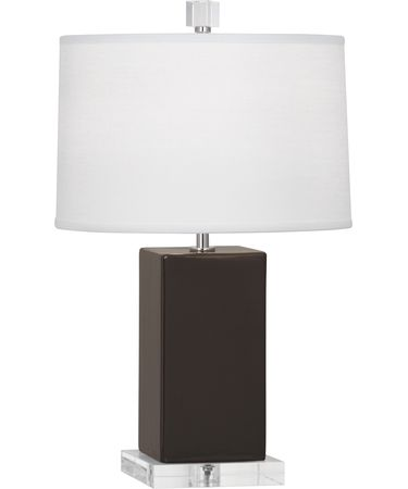 Shown in Polished Nickel-Coffee finish and Oyster Linen shade