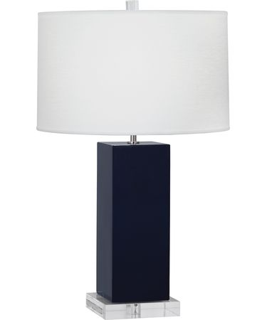 Shown in Polished Nickel-Midnight Blue finish and Oyster Linen shade