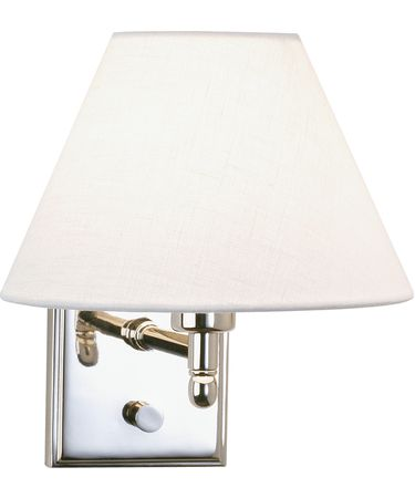 Shown in Polished Nickel finish and Off-White Linen shade
