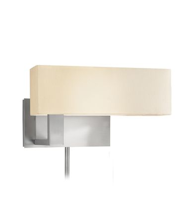 Shown in Satin Nickel finish and Off-White Linen shade