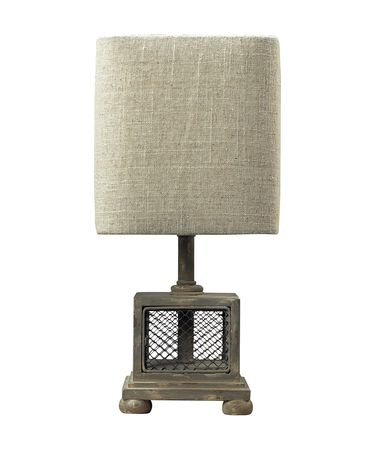 Shown in Montauk Grey finish and Naturel Linen shade