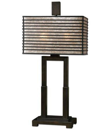 Shown in Oil Rubbed Bronze finish and Rectangle Mica shade